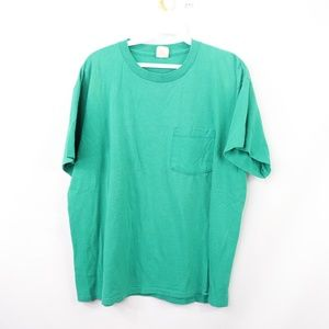 Vtg 80s Mens Large Thin Pocket T Shirt Rockabilly
